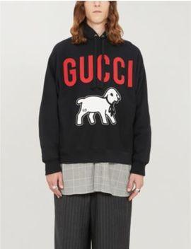 Lamb Print Cotton Jersey Hoody by Gucci