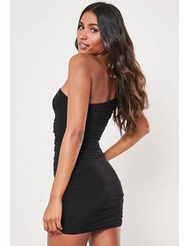 Tall Black Slinky One Shoulder Ruched Bodycon Mini Dress by Missguided
