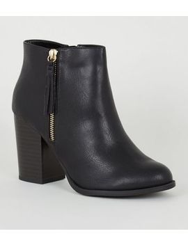 Wide Fit Black Tassel Trim Block Heel Boots by New Look