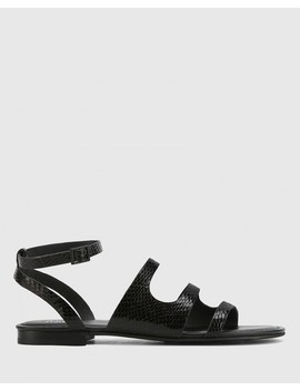 Carmeline Black Mini Snake Print Ankle Strap Slide by Wittner