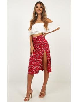 Do It Your Way Skirt In Red Floral by Showpo Fashion