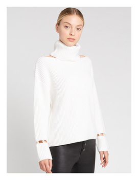 Lara Cold Shoulder Pearl Pullover by Alice And Olivia