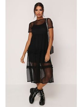 Black Polka Dot Mesh Frill Detail Midi Dress by I Saw It First