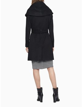 Wool Blend Belted Coat by Calvin Klein