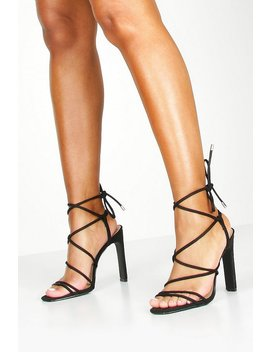 Strappy Tie Flat Heel Sandals by Boohoo