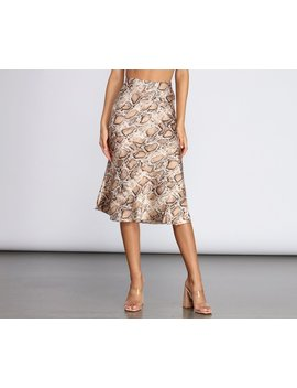 Flare It Out Satin Midi Skirt by Windsor
