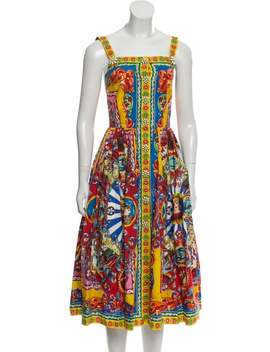 Accented Print Dress by Dolce & Gabbana