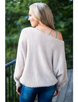 Make You Love Me Taupe Fuzzy Sweater by The Mint Julep Boutique