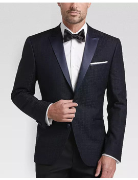 Awearness Kenneth Cole Navy Plaid Slim Fit Dinner Jacket by Awearness Kenneth Cole