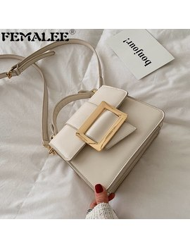 Femalee Solid Brand Designer Woman 2019 New Fashion Messenger Bag Shoulder Bag Female Big Belt Buckle Square Pu Handbag by Ali Express.Com