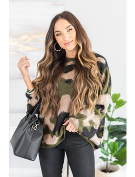 And We're Off Olive Green Camo Sweater by The Mint Julep Boutique