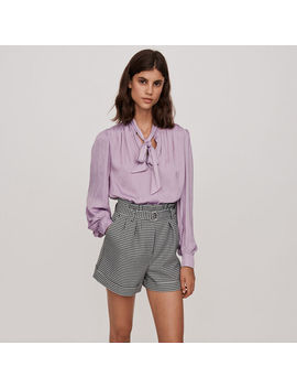 Belted Houndstooth Shorts by Maje