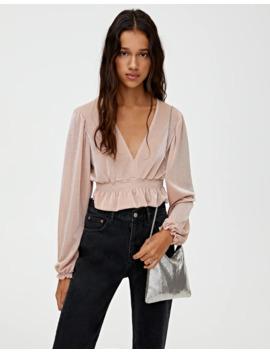 Roze Blouse Met Geplooide Taille by Pull & Bear