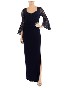 Midnight Jersey Draped Gown by Anthea Crawford