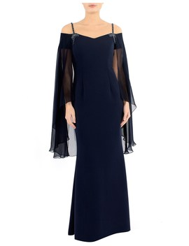 Navy Cold Shoulder Gown With Shawl by Anthea Crawford