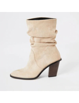 Beige Faux Suede Slouch Heeled Boot by River Island