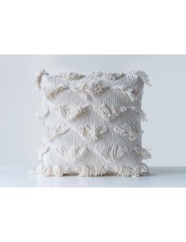 Mello Embroidered With Eyelash Fringe Cotton Throw Pillow by Allmodern