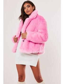 Pink Faux Fur Short Collar Coat by Missguided