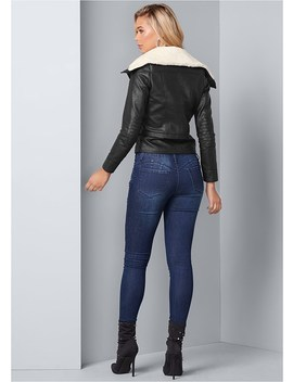 Faux Fur Trim Moto Jacket by Venus