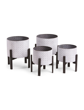 Set Of 2 Planters With Wood Stands by Tj Maxx
