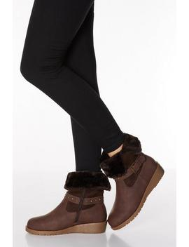 Brown Faux Leather Stud Strap Wedge Boots by Quiz