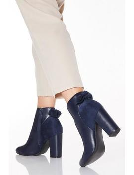 Wide Fit Navy Faux Leather Bow Heeled Ankle Boots by Quiz