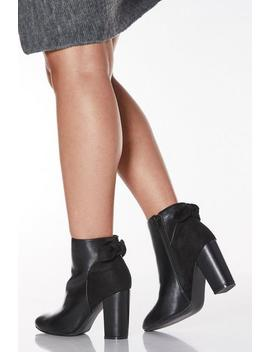 Wide Fit Black Faux Leather Bow Heeled Ankle Boots by Quiz