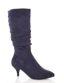 Navy Faux Suede Ruched Calf Boots by Quiz