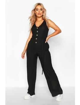 Plus Horn Button Rib Tie Belt Pocket Jumpsuit by Boohoo