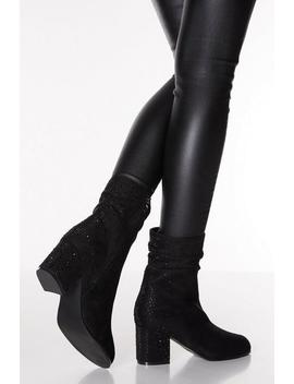 Black Diamante Ruched Heel Ankle Boot by Quiz