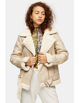 Ecru Faux Shearling Biker Jacket by Topshop