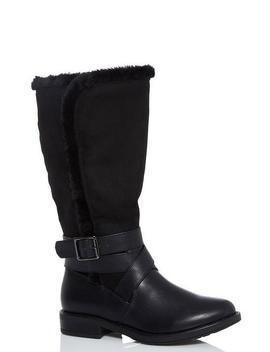 Black Faux Fur Trim Calf Boots by Quiz