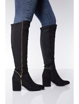 Black Faux Suede Knee High Boots by Quiz