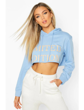 Slogan Front Cropped Hoodie by Boohoo
