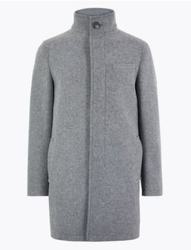 Tailored Fit Funnel Neck Overcoat by Marks & Spencer