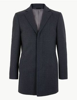 Textured Wool Blend Overcoat by Marks & Spencer