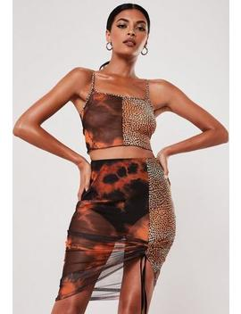 Black Co Ord Animal Tie Dye Print Mesh Crop Cami Top by Missguided
