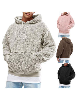 2018 Casual Men Winter Warm Polar Fleece Teddy Bear Pockets Hooded Sweatshirt Thick Hoodies Tops Pullover Plus Size S 2 Xl by Ali Express.Com
