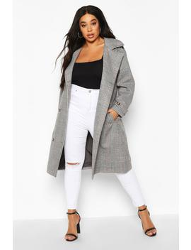 Plus Wool Look Prince Of Wales Check Trench Coat by Boohoo