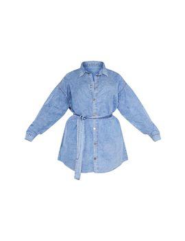 Plus Mid Blue Acid Wash Belt Detail Denim Dress  by Prettylittlething