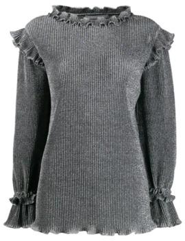 Metallic Knit Ruffled Sweater by Alberta Ferretti