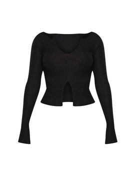 Shape Black Brushed Rib Long Sleeve Top by Prettylittlething