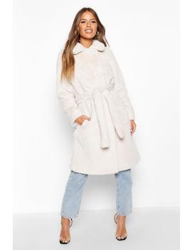 Petite Faux Fur Longline Belted Coat by Boohoo