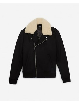 Black Wool Biker Jacket With Sheepskin Collar by The Kooples