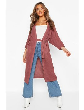 Belted Boyfriend Cardigan by Boohoo