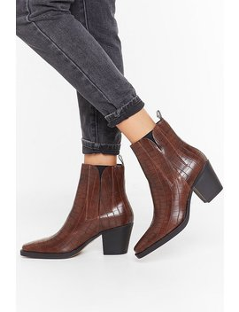 Croc The Night Away Faux Leather Ankle Boots by Nasty Gal