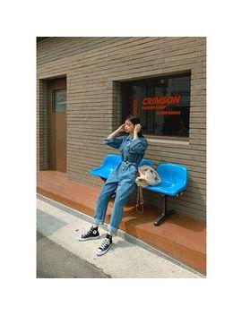 Chuu   Shirtwaist Denim Jumpsuit & Sash by Chuu
