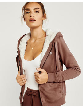 Fur Lined Full Zip Icon Hoodie by Abercrombie & Fitch
