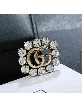 New Double G Brooch Gold With Rhenstones by Ebay Seller