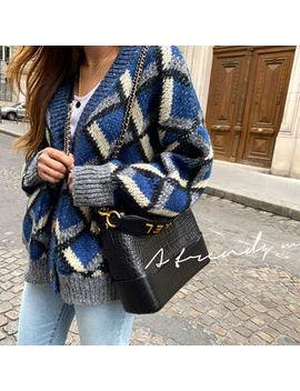 Naning9   Woolen Geo Pattern Knit Cardigan by Naning9